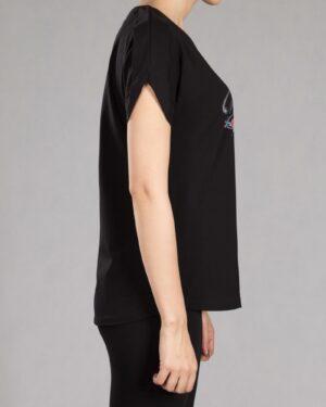 تیشرت دخترانه طرح نوشته - مشکی - بغل