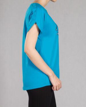 تیشرت دخترانه طرح نوشته - نیلی - بغل