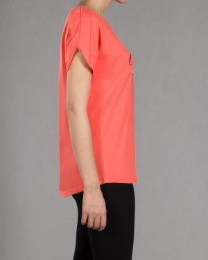 تیشرت دخترانه طرح نوشته - گلبهی - بغل