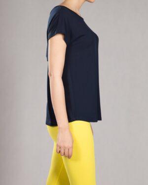 تیشرت گلدوزی زنانه یقه گرد - سرمه ای - بغل