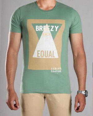 تی شرت طرح دار مردانه - سبز چمنی - رو به رو