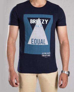 تی شرت طرح دار مردانه - سرمه ای تیره - رو به رو