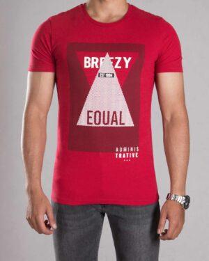 تی شرت طرح دار مردانه - قرمز روشن - رو به رو