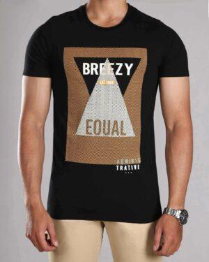 تی شرت طرح دار مردانه - مشکی - رو به رو