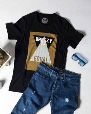 تی شرت طرح دار مردانه - مشکی - محیطی