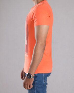 تی شرت طرح دار مردانه - گلبهی - بغل