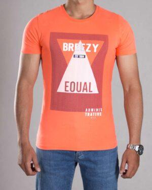 تی شرت طرح دار مردانه - گلبهی - رو به رو