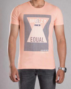 تی شرت طرح دار مردانه - گلبهی پاستیلی - رو به رو