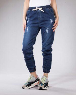 شلوار جین کمر کش دخترانه - آبی کاربنی - رو به رو