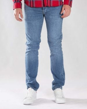 شلوار جین آبی راسته مردانه - آبی - رو به رو