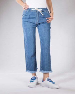 شلوار جین دمپا ریش زنانه - آبی - رو به رو