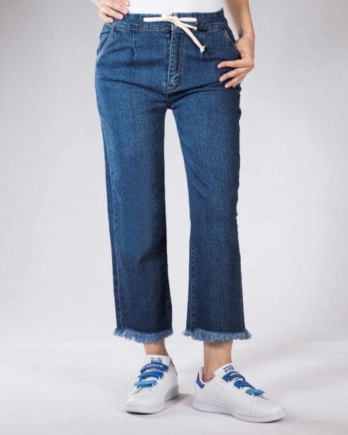 شلوار جین راسته زنانه - آبی کاربنی - رو به رو