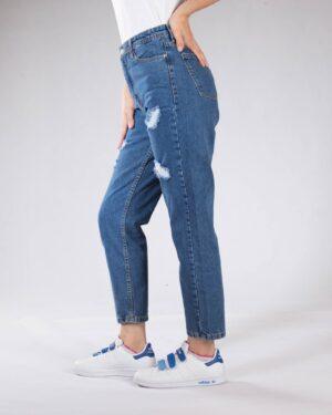 شلوار جین مام استایل زنانه - آبی - بغل