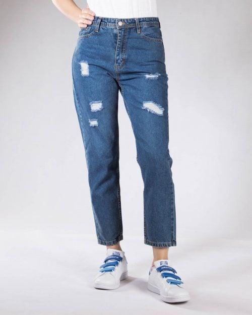 شلوار جین مام استایل زنانه - آبی - رو به رو