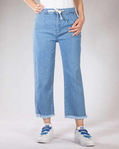 شلوار جین کوتاه دخترانه - آبی روشن - رو به رو