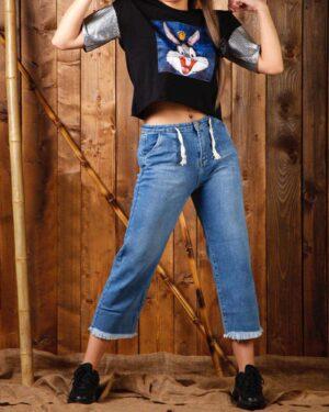 شلوار جین کوتاه دخترانه - آبی روشن - محیطی زنانه