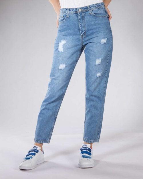 شلوار جین گشاد زنانه - نیلی - رو به رو