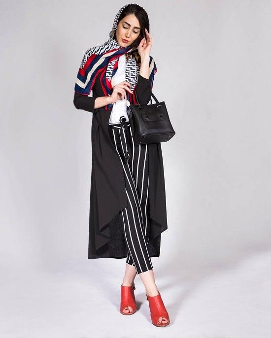 استفاده از کفش رنگی قرمز در کنار کت مشکی در فروشگاه اینترنتی سارابارا