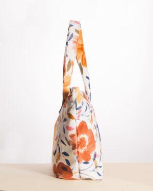 کیف دستی زنانه گلدار مخمل - سفید - بغل