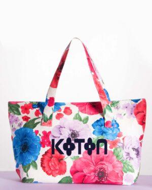 کیف زنانه گلدار طرح کوتون - سفید - رو به رو
