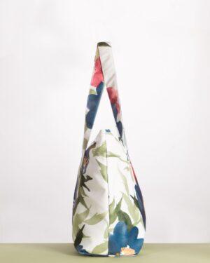 کیف گلدار اسپرت زنانه - سفید - بغل