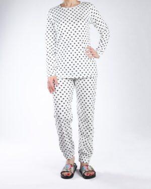 بلوز شلوار زنانه طرح گربه - سفید - رو به رو