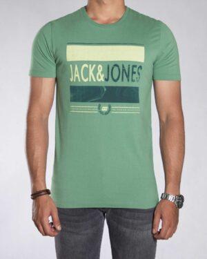 تیشرت اسپرت طرح دار مردانه - سبز چمنی - رو به رو