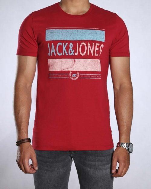 تیشرت اسپرت طرح دار مردانه - قرمز روشن - رو به رو