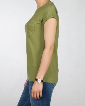تیشرت جیب خال خالی زنانه - زیتونی - بغل