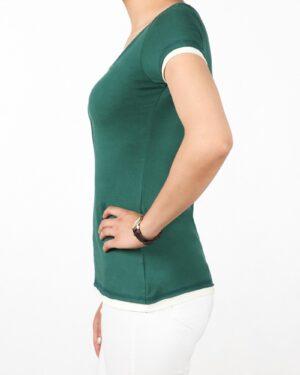 تیشرت دکمه دار ساده زنانه - سبز تیره - بغل
