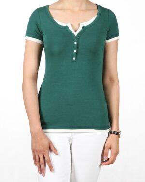 تیشرت دکمه دار ساده زنانه - سبز تیره - رو به رو