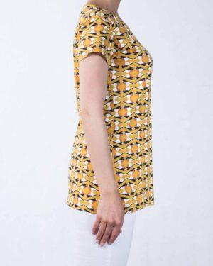 تیشرت زنانه طرح پرنده - خردلی - بغل