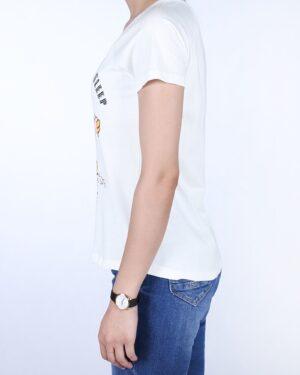 تیشرت سفید زنانه طرح گارفیلد - سفید - بغل
