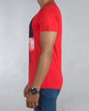 تیشرت طرح دار مردانه کانی راش - قرمز روشن - بغل