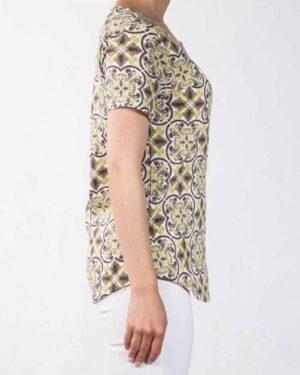 تیشرت طرح سنتی زنانه - سفید - بغل