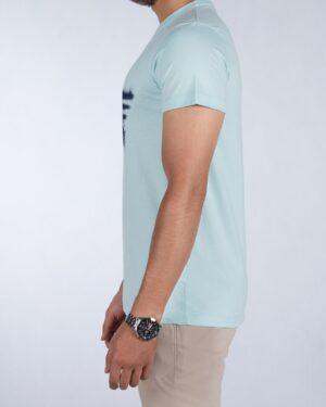 تیشرت طرح کانی راش مردانه - آبی آسمانی - بغل