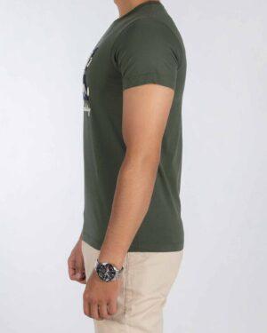 تیشرت مردانه طرح کانی راش - زیتونی سیر - بغل