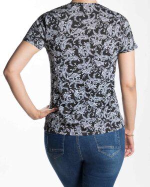 تیشرت مشکی طرح سنتی زنانه - مشکی - پشت تیشرت