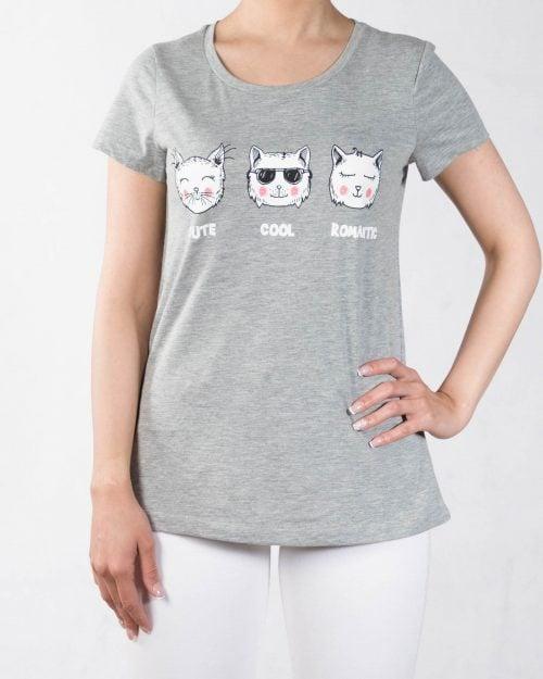تی شرت زنانه طرح گربه - ملانژ - رو به رو