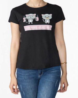 تیشرت دخترانه مشکی طرح گربه - مشکی - رو به رو
