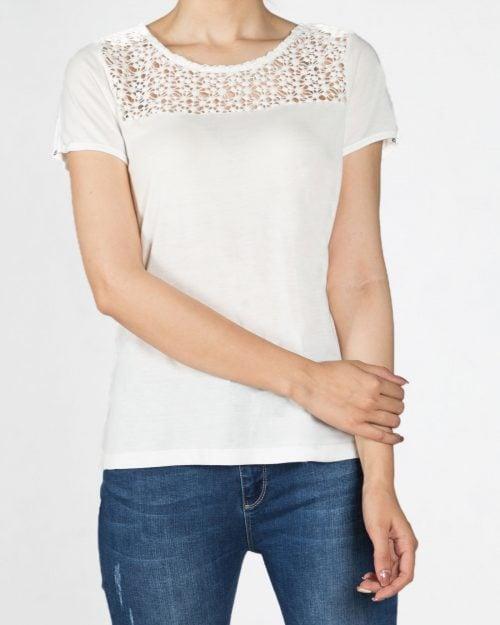 تیشرت ساده یقه گیپور زنانه - سفید - رو به رو