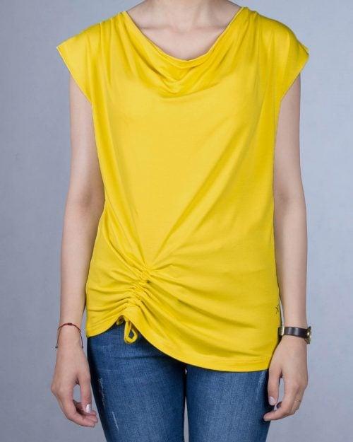 تیشرت یقه شل زنانه - زرد - رو به رو
