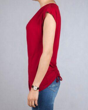 تیشرت یقه شل زنانه - قرمز - بغل