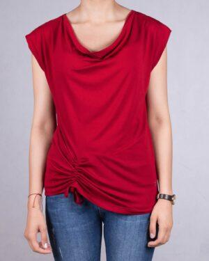 تیشرت یقه شل زنانه - قرمز - رو به رو