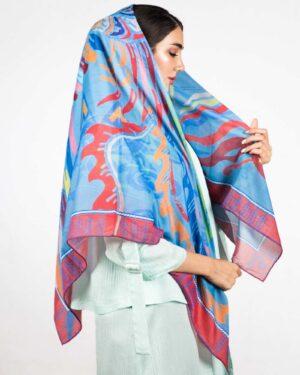 روسری آبی زنانه طرح پرنده - آبی روشن - دخترانه