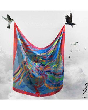 روسری آبی زنانه طرح پرنده - آبی روشن - روسری طرح دار