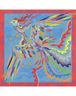 روسری آبی زنانه طرح پرنده - آبی روشن - روسری قواره بزرگ
