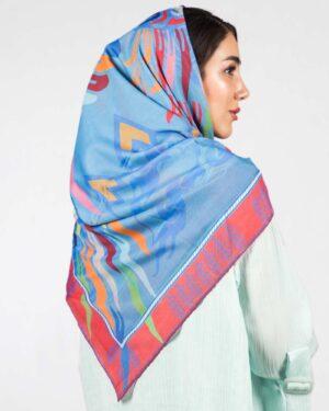 روسری آبی زنانه طرح پرنده - آبی روشن - پشت