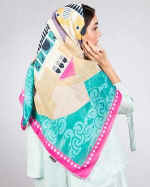 روسری بزرگ مجلسی زنانه طرح دار - لیمویی - دخترانه پشت