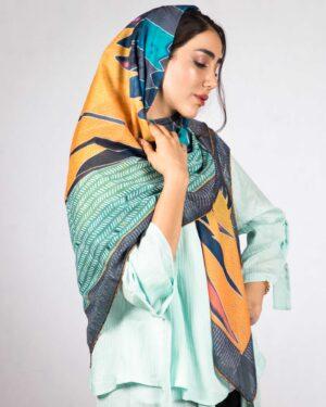 روسری بزرگ مجلسی زنانه - نارنجی - بغل